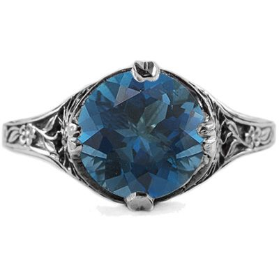 Wow Her with this 9mm Round London Blue Topaz Floral Design Vintage Style Ring in White Gold -