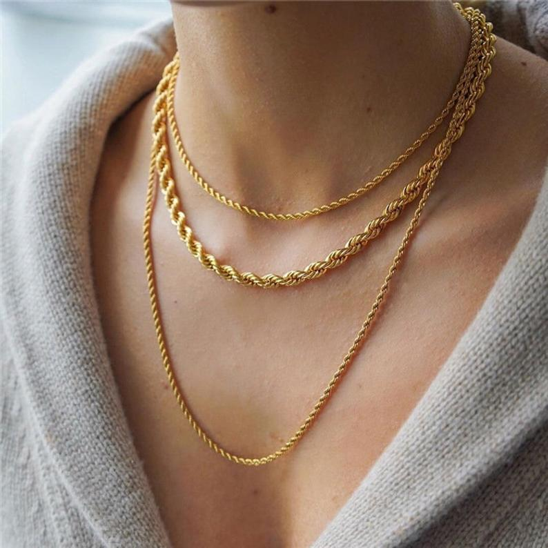 Gold Pearl Necklace,Baroque Pearl Necklace,Gold Rope Chain,Gold Rope Necklace,Gold Chunky Necklace,Chunky Pearl Necklace,Twisted Rope Chain