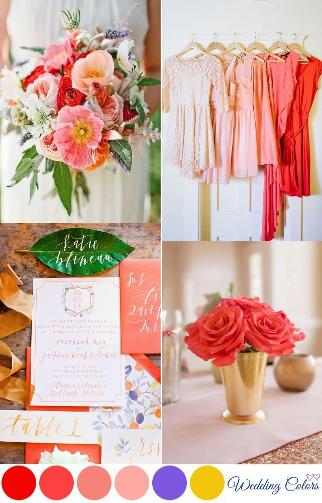 {Coral, Poppy Red, & Pink} Wedding Palette Inspiration