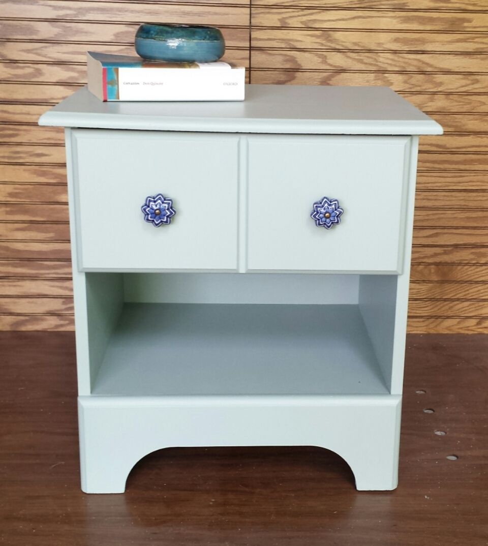 Vintage Night Stand Table Painted Pleasant Valley Blue Sherwin Williams S Are From Hobby Lobby