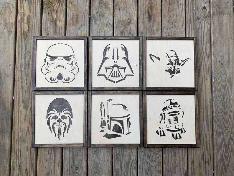 Star Wars Wall Art Set Of 4 Custom Star Wars Star Wars Etsy In 2020 Star Wars Wall Art Wall Art Sets Star Wars Decor