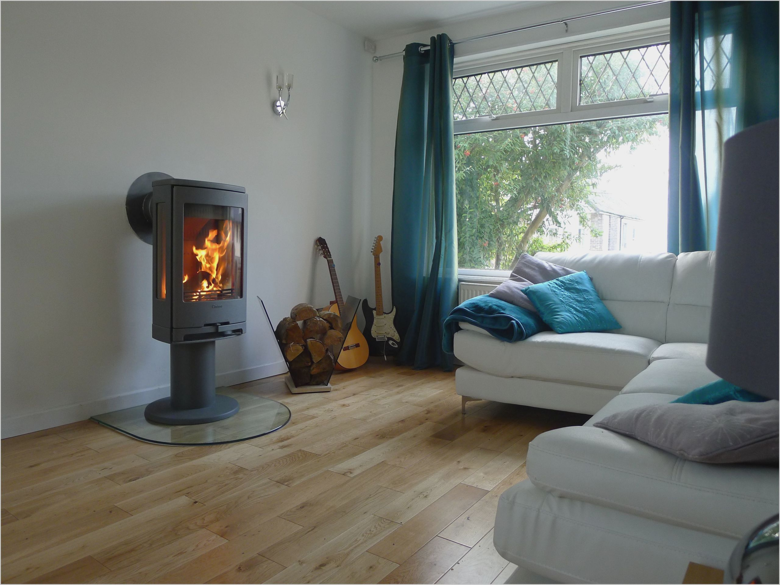 Living Room with Wood Stove Idea di 2020
