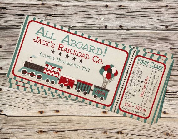 Vintage Choo Choo Train Kids Birthday by onlysunshinedesigns – Choo Choo Train Birthday Invitations