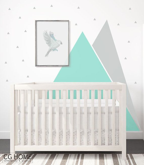 Peinture Triangle Chambre Mountains Wall Decal Nursery Triangle Wall Art Graphic