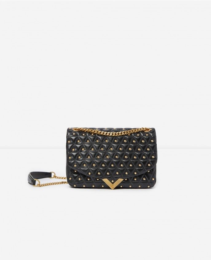 cd0d0d231921 Medium black leather bag with golden studs Stella by The Kooples -  Accessories WOMAN