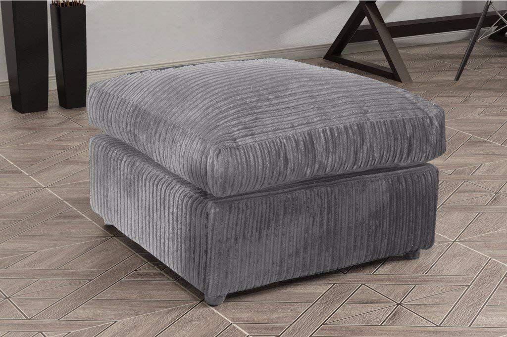 Logan Corner Sofa Lhf Jumbo Cord With Footstool Fabric Grey Amazon Co Uk Kitchen Home Corner Sofa And Pouffe Pouffe Ottoman Corner Sofa