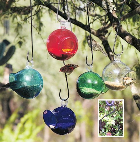 SEED DROP - Blown Glass Bird Feeder - Parasol-Assorted colors: CreekTreeUSA $37.95 would love a couple of these to hang from the Japanese maple