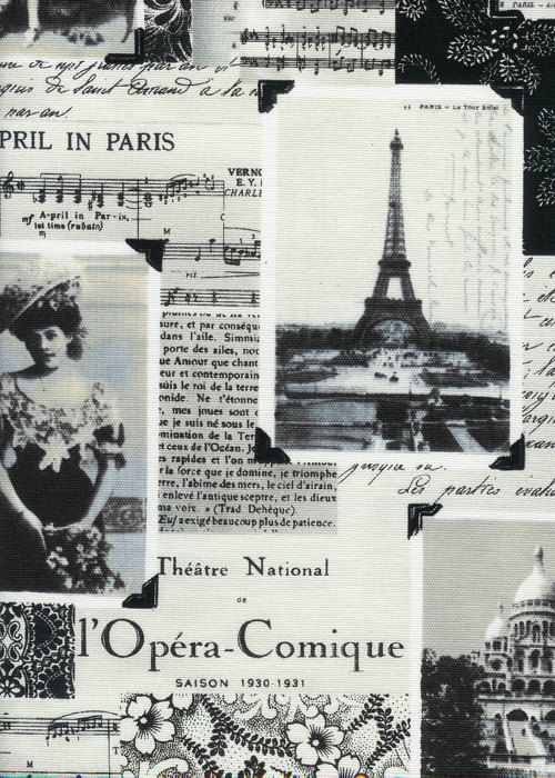 April In Paris France Black White Collage Fabric By AllegroFabrics 1000 Put This Into A