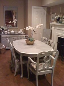 Vintage Bernhardt Dining Set Purchased At Salvation Army Painted With Annie Sloan Paris Grey And Old White