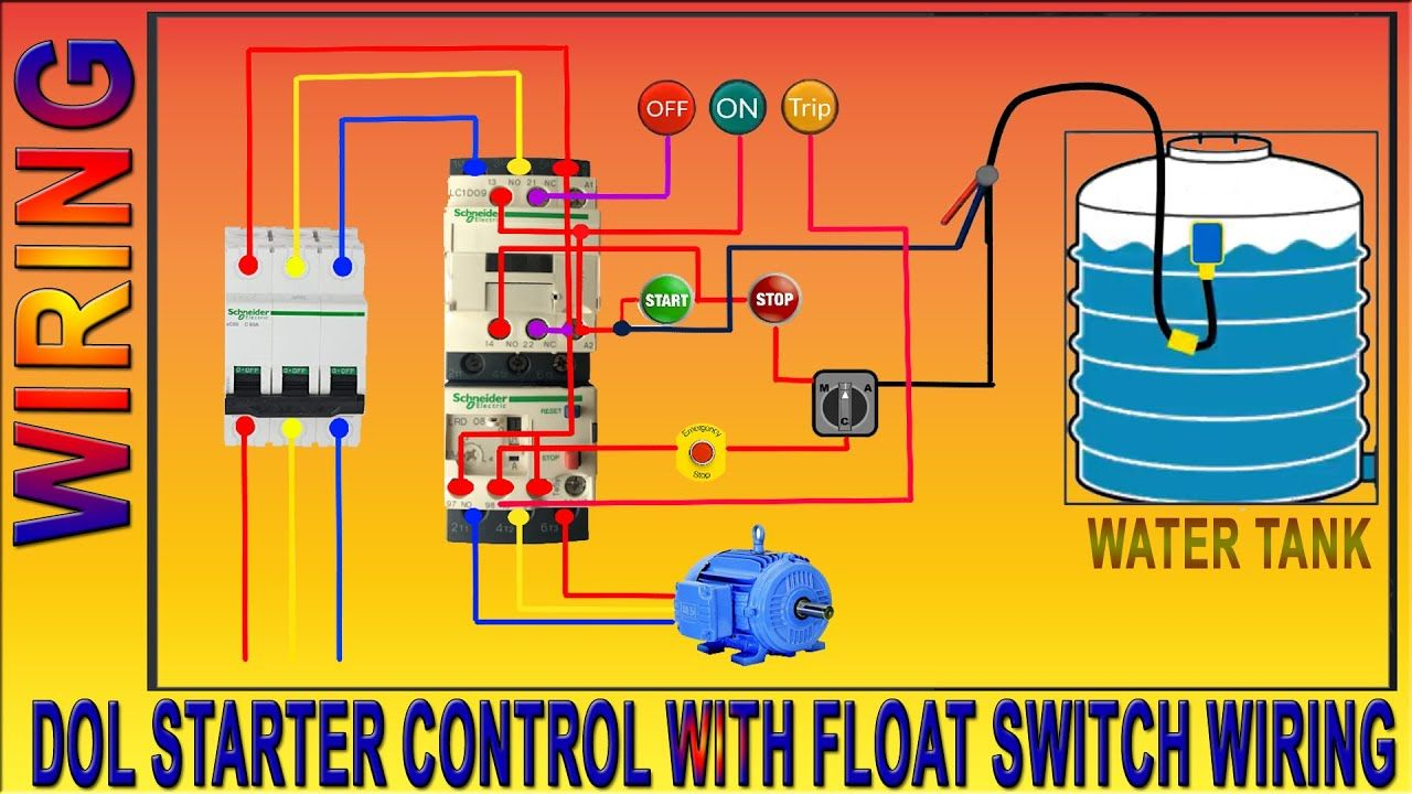 3 Phase Motor Dol Starter Control Wiring Diagram Float Switch Wiring Installation For Water Tank Water Tank Water Pump Motor Energy Bulbs