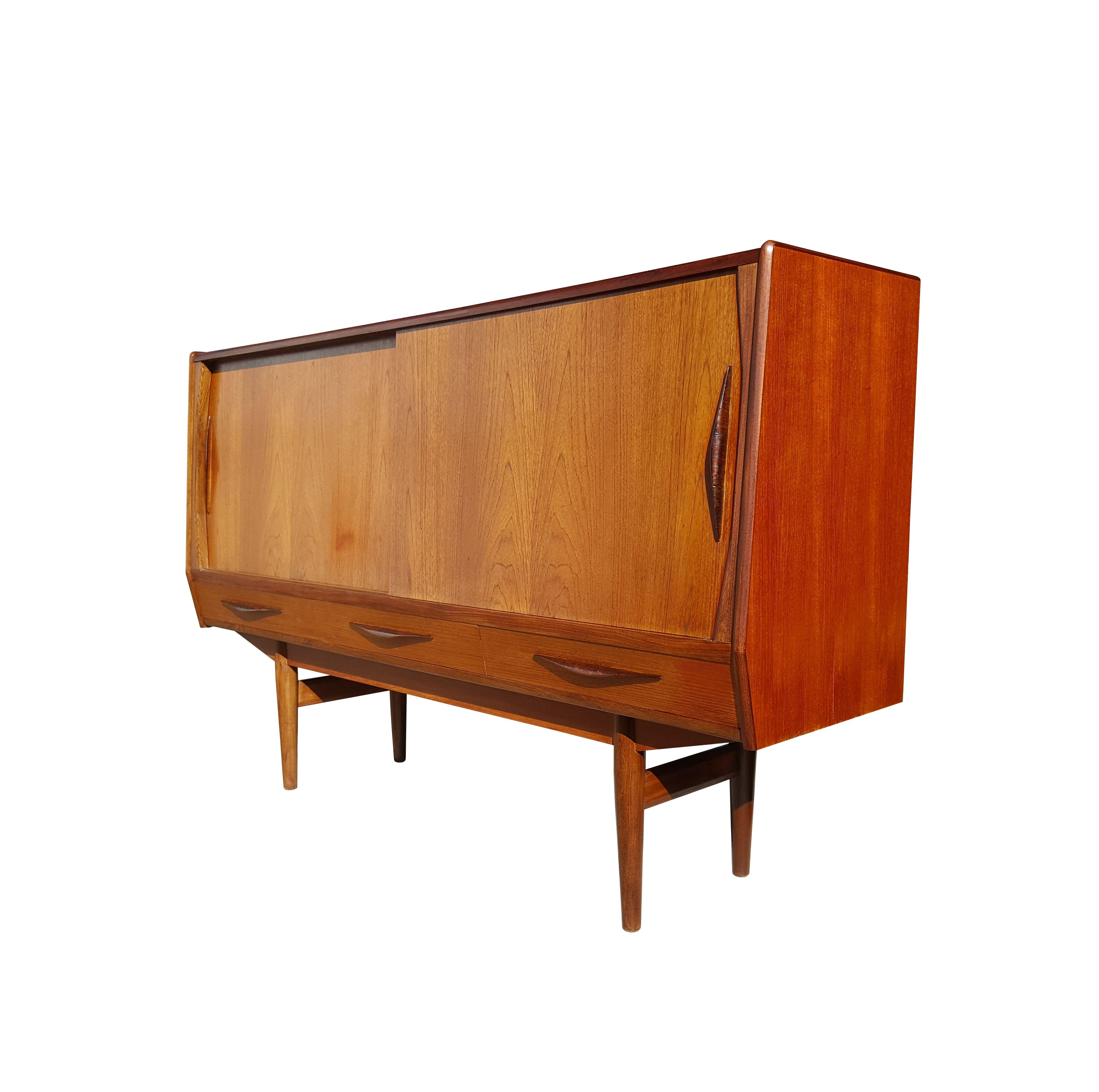 Danish Mid Century Modern Teakwood Sideboard High Board Credenza