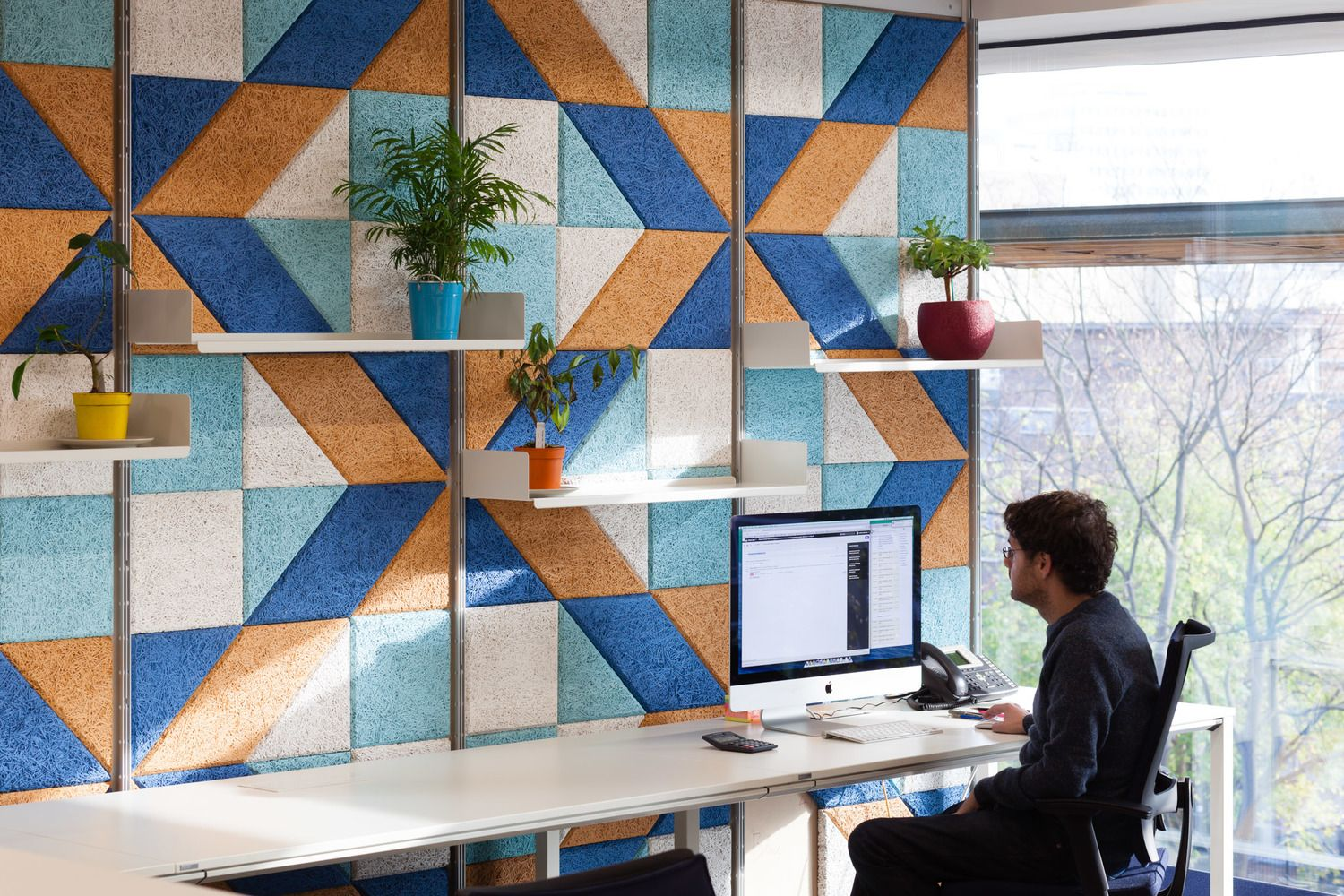 combined office interiors desk. BAUX Acoustic Tiles Combined With Vitsoe Shelving To Create A Bold And Graphic Office Interior. Interiors Desk L