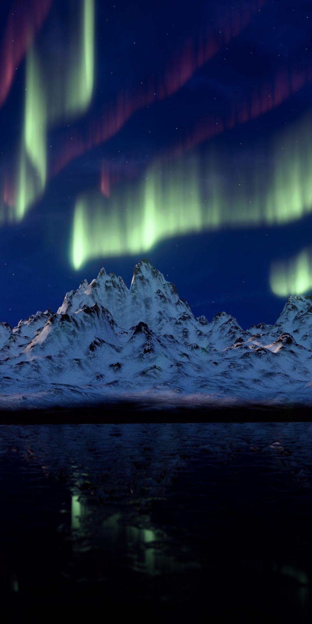 1080x2160 Nature, mountains, Northern Lights, Aurora