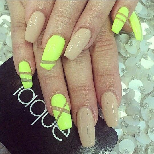 Matte Neon Coffin Nails Yellow Nails Design Yellow Nails