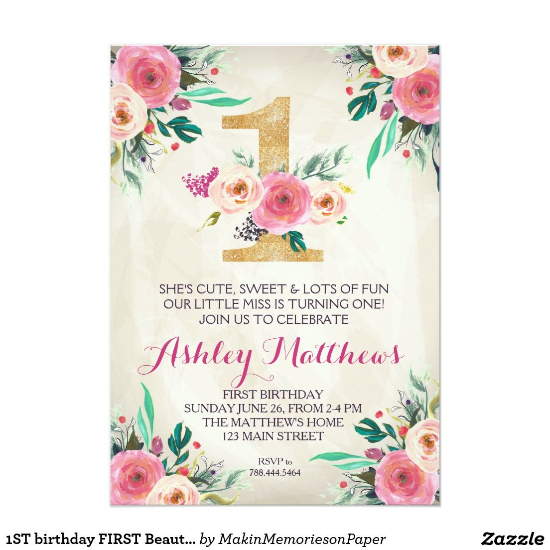 1ST birthday FIRST Beautiful Floral Invitation, Card | Shop the ...