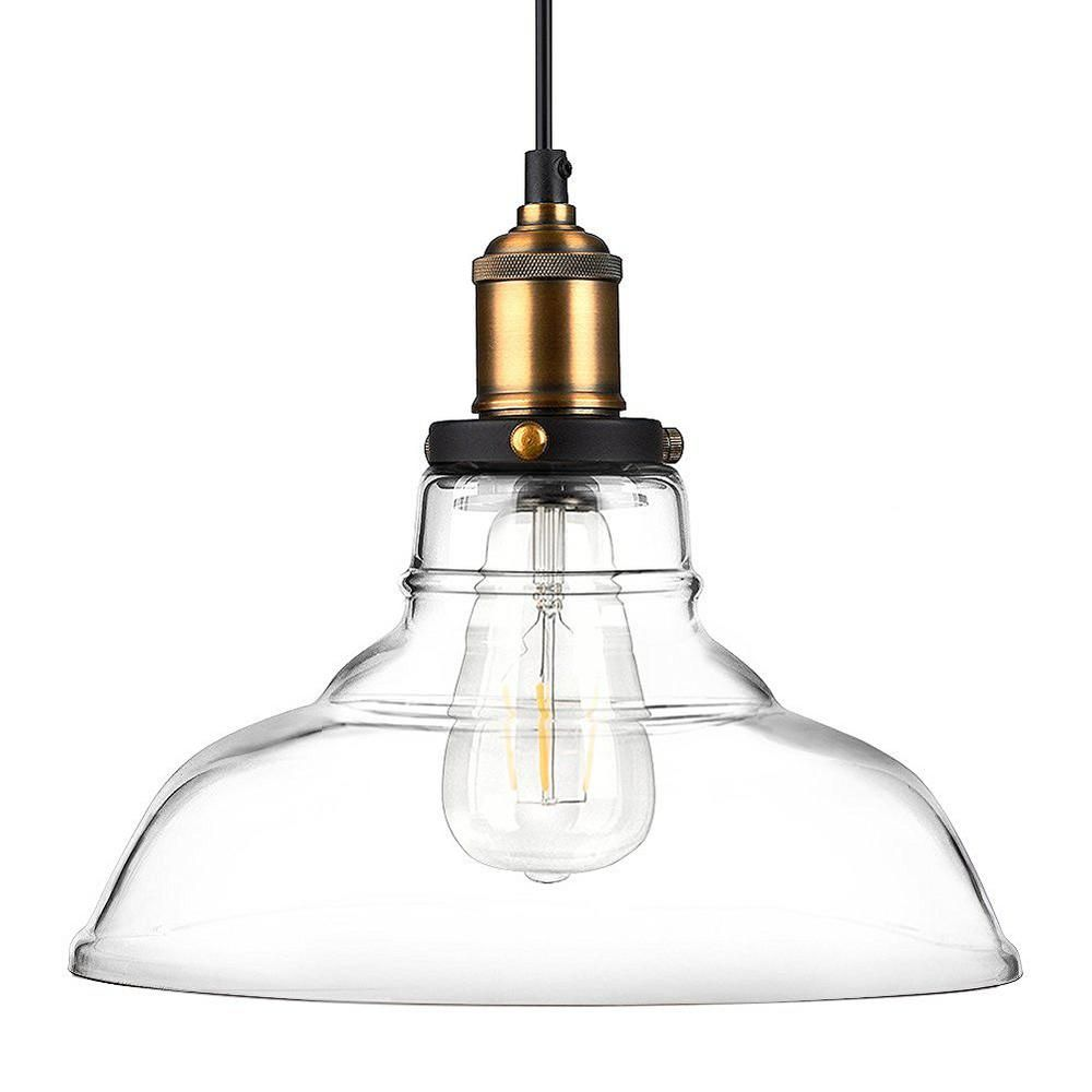 Newhouse Lighting Rustic Vintage Edison Style 1-Light Glass Hanging ...