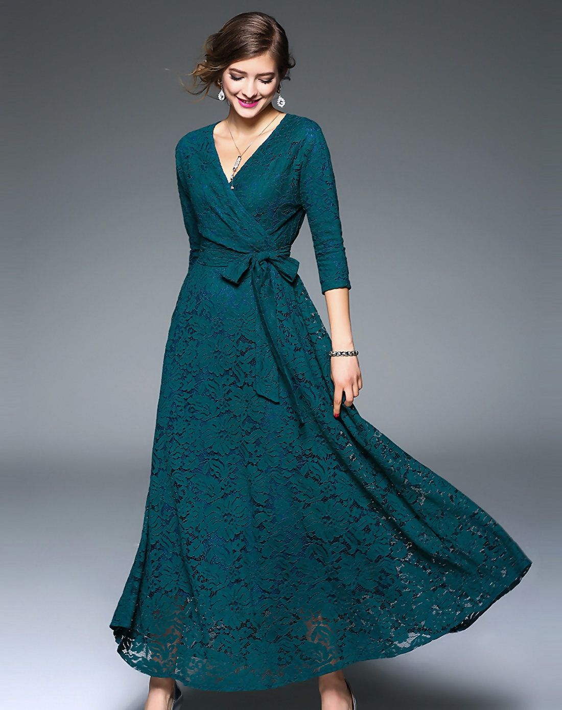 AdoreWe #VIPme Party Dresses - LANJIAN Green Surplice Neckline Party ...