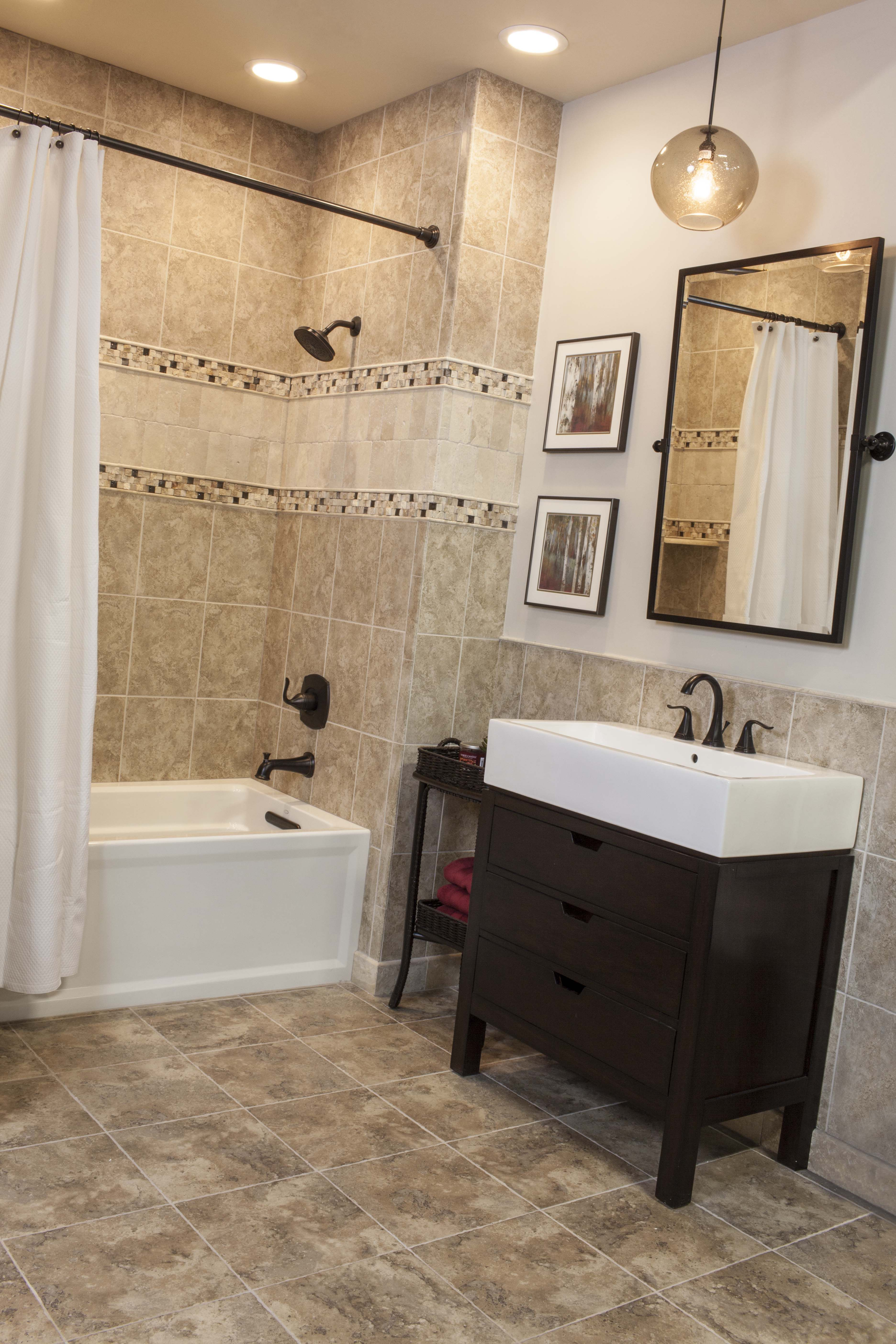 Ceramic tiled bath accented with travertine thetileshop for Travertine eye drops