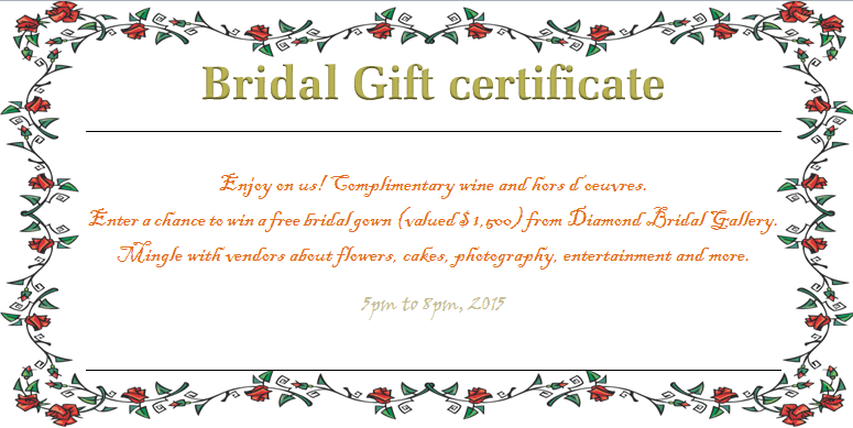 Wreath of roses bridal gift certificate template beautiful wreath of roses bridal gift certificate template yelopaper Images