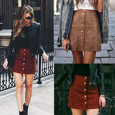 Apparel suede leather women skirt 90s Vintage short skirt Winter high waist casual skirts with button