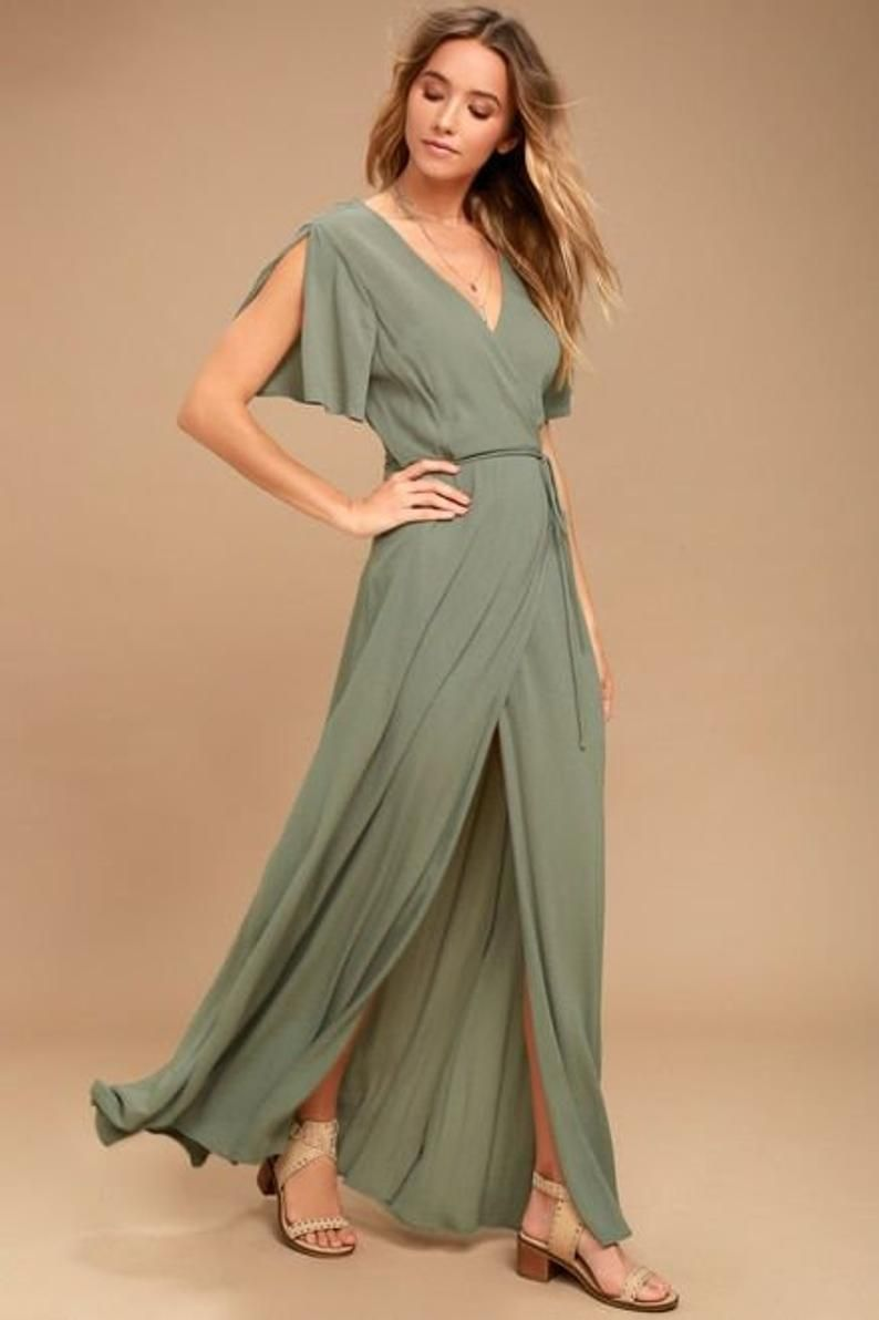 Wrap Dresses Long Dress Maxi Summer Dress Wrap Dress Etsy In 2020 Olive Green Bridesmaid Dresses Maxi Wrap Dress Olive Green Dresses