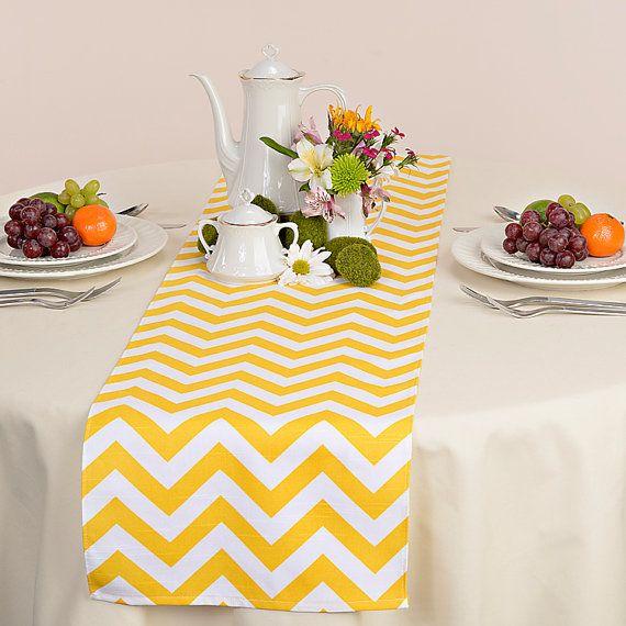 Yellow Table Runner - Yellow Wedding Linens - Yellow Table Topper - Chevron Yellow Table Runner