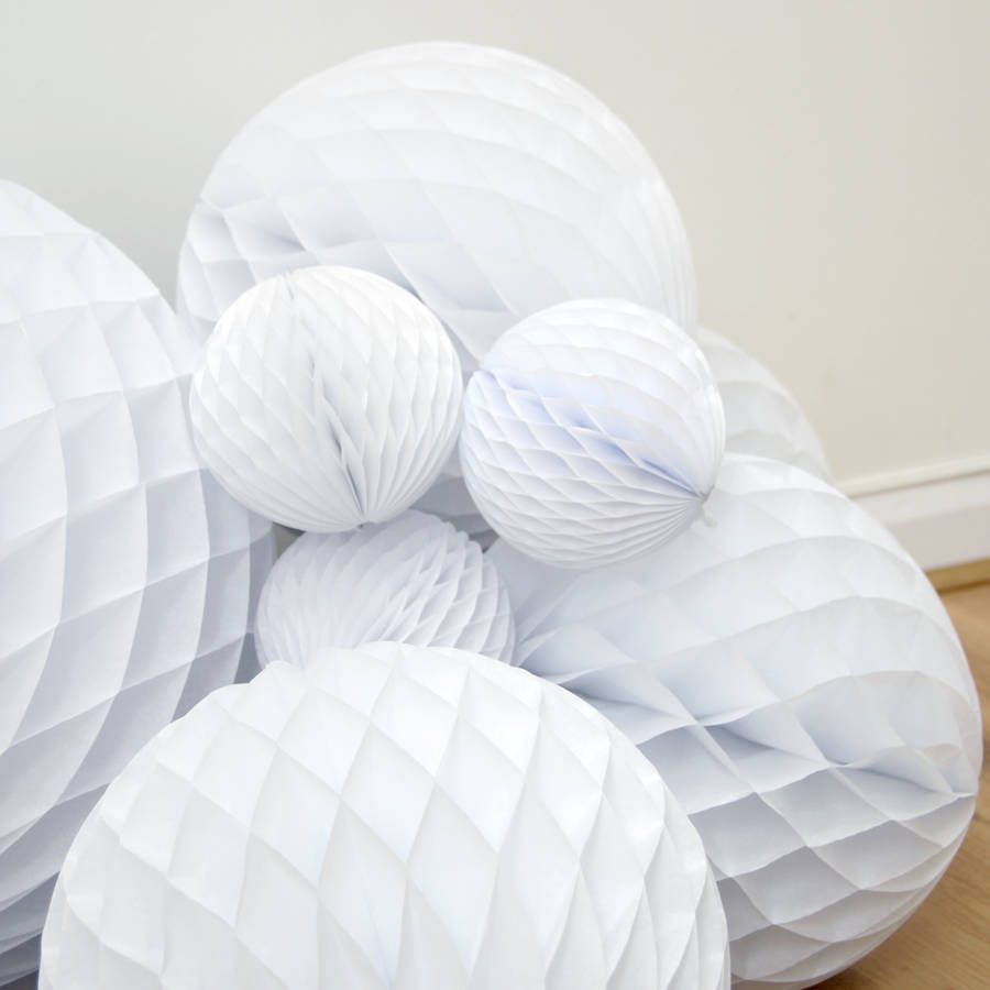 Winter White Christmas Tissue Ball Collection from notonthehighstreet.com