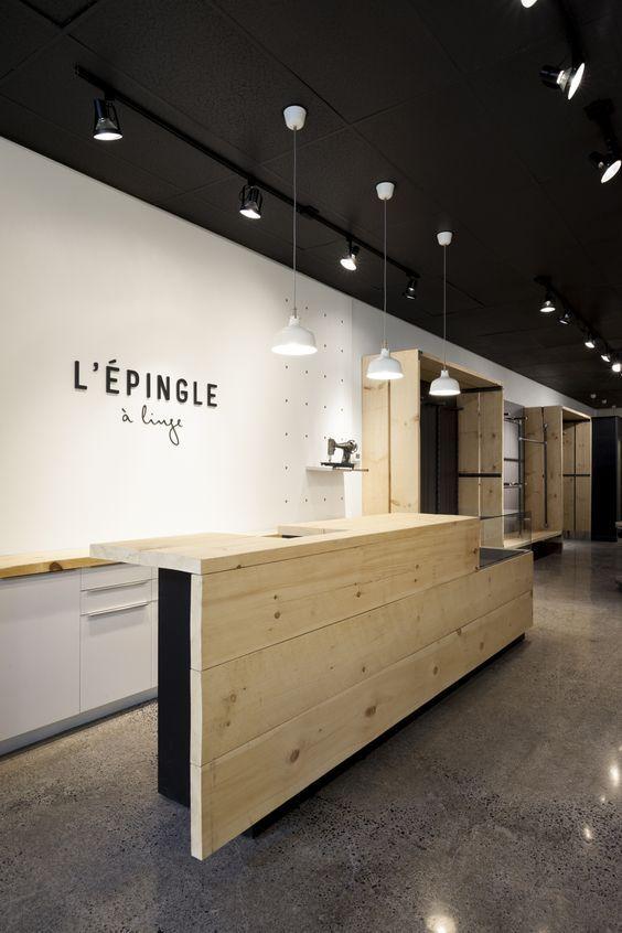 l 39 pingle linge boutique store par taktik design front desk pinterest. Black Bedroom Furniture Sets. Home Design Ideas