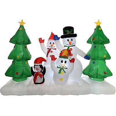 Inflatable Christmas Decoration Snowman Family with LED Lights - inflatable outdoor christmas decorations