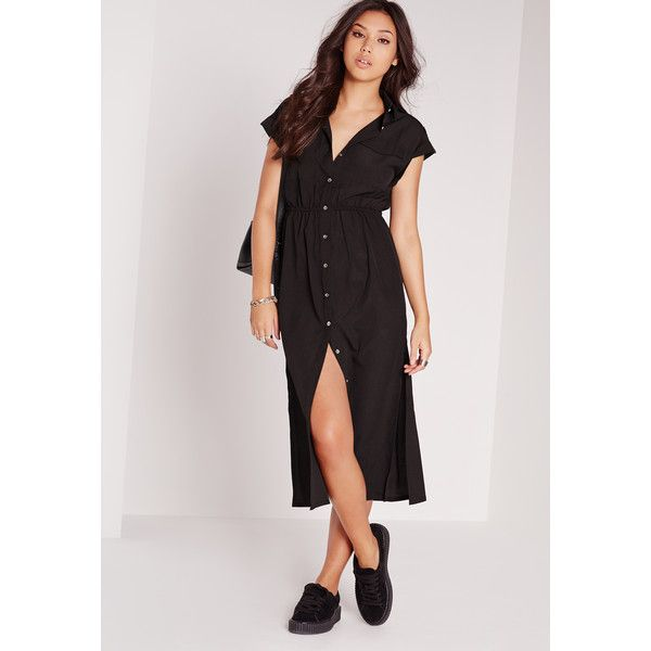 5a91b28d329c8 Missguided Short Sleeve Maxi Shirt Dress ( 43) ❤ liked on Polyvore  featuring dresses