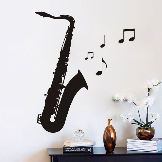Decal Musical Note Saxophone Wall Stickers Pvc Diy Living Room Bedroom Home Art Vinyl Wallpaper Room House Stic Vinyl Wallpaper Boys Room Decor Living Room Diy