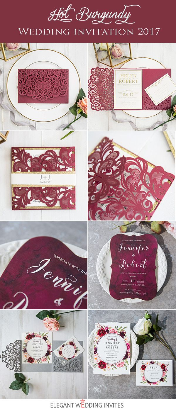 Affordable Red and Burgundy Wedding Invitations from