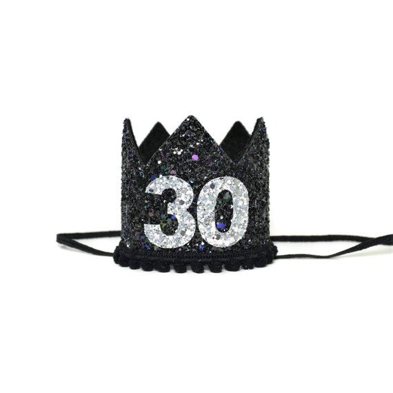 30th Silver Black Birthday Crown Adult Hat Dirty 30