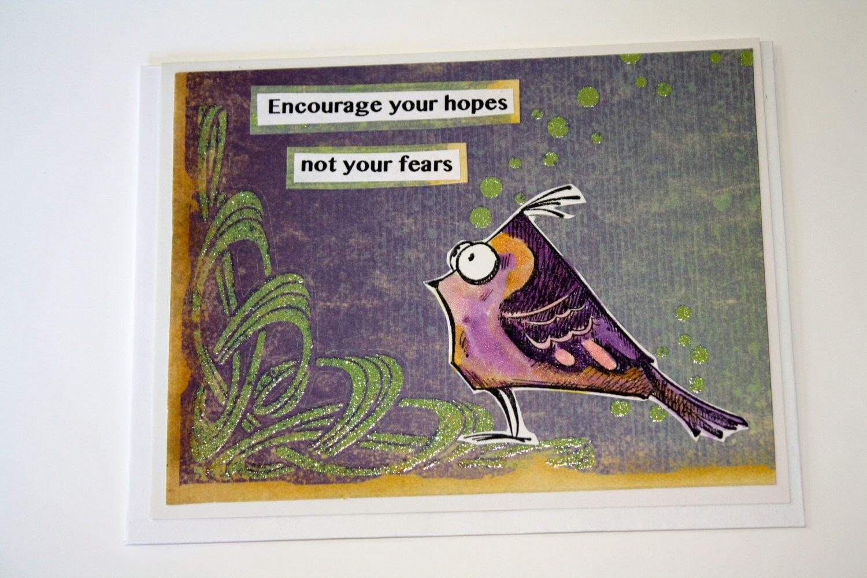 Funny Bird Greeting Card Handmade Hand Painted Design Whimsical