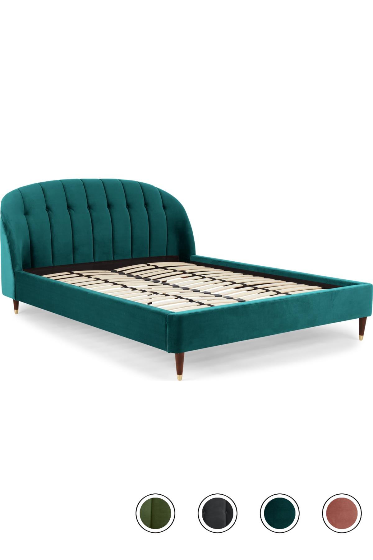 Margot King Size Bed, Seafoam Blue Velvet Velvet