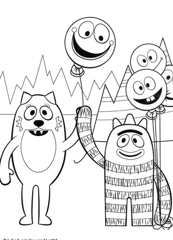 Brobee Give Balloon To Toodee In Yo Gabba Gabba Coloring Page Coloring Sun In 2020 Disney Princess Coloring Pages Coloring Pages Printable Christmas Coloring Pages