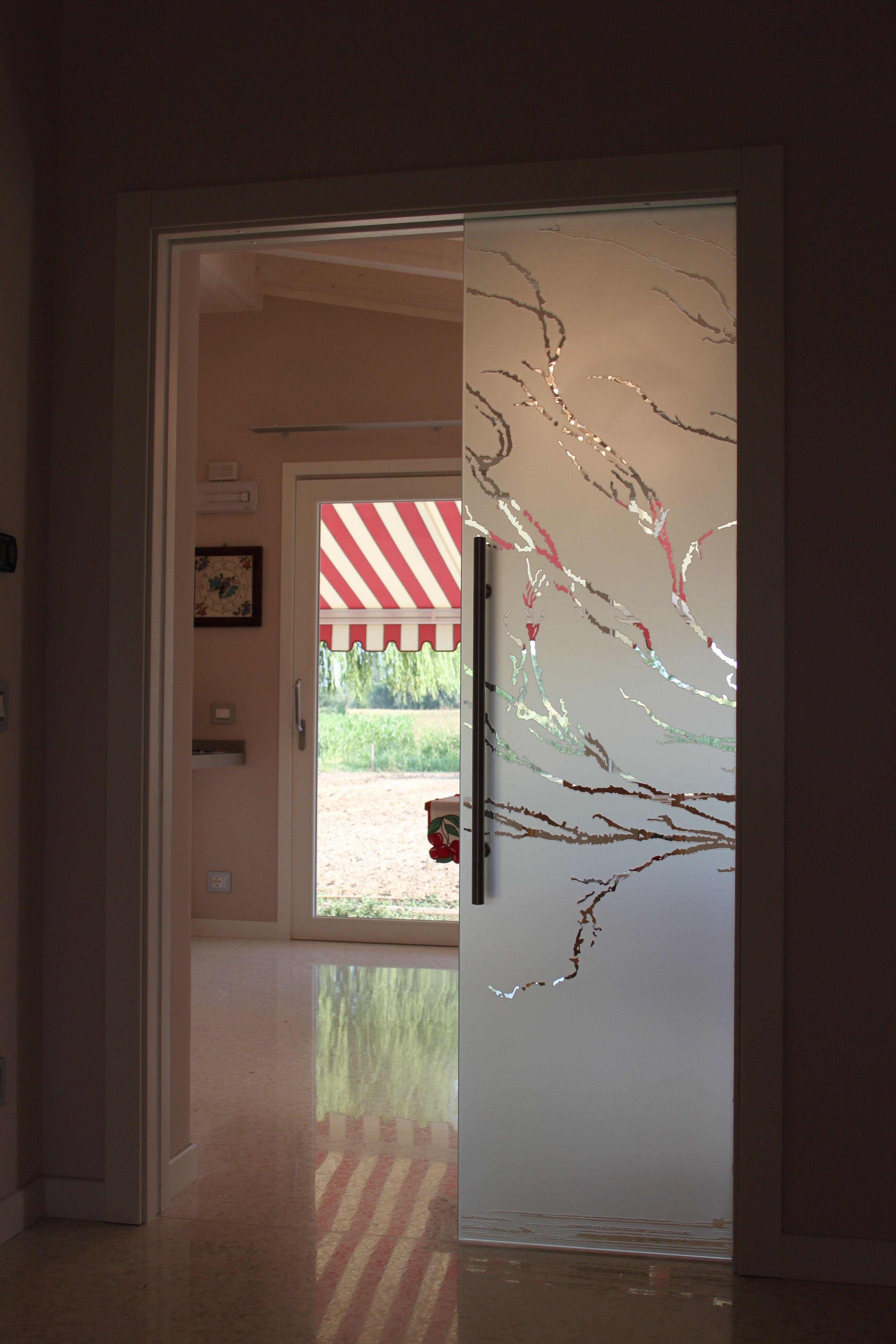 Casali porte in vetro sabbiata e incisa modello albero - Casali porte scorrevoli ...