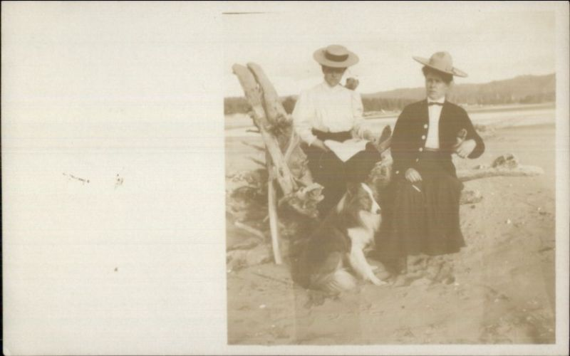 Women & Collie Dog c1910 Real Photo Postcard