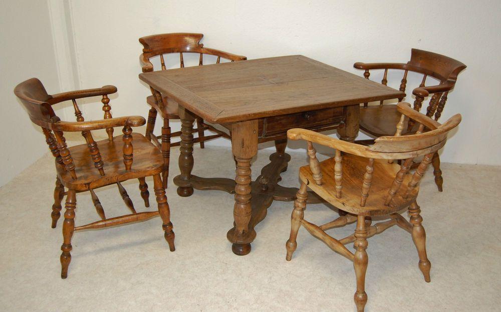 Barock Tisch Sitzgruppe mit 4 Stühlen um 1750 | furniture ...
