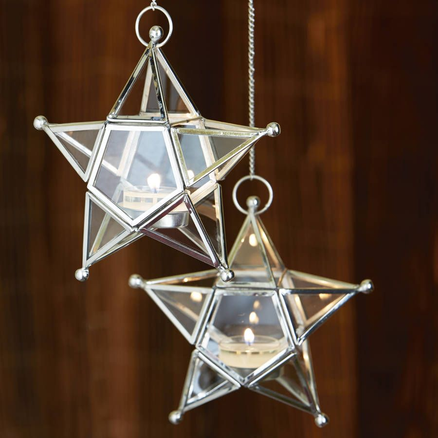 Hanging Glass Star Tealight Holders Set Of Two