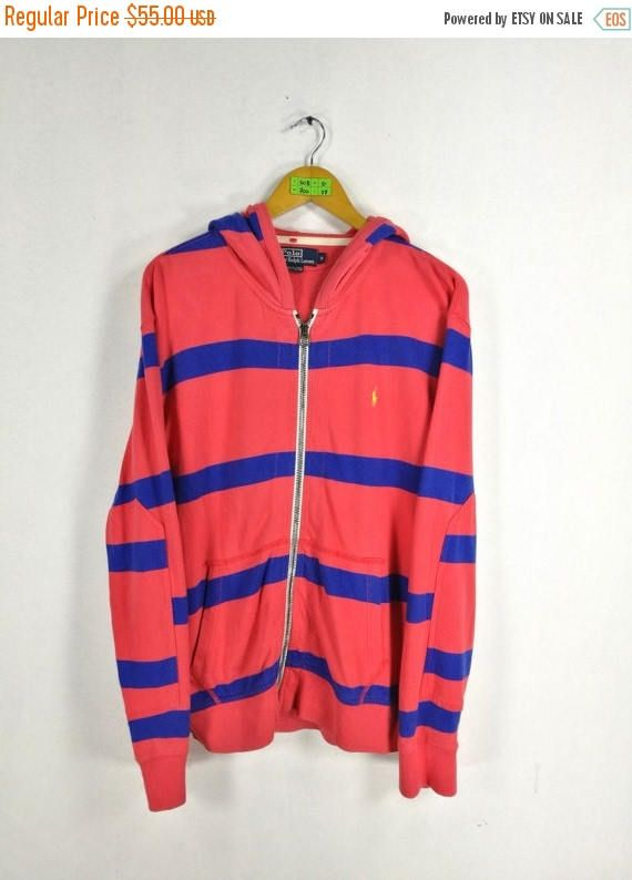 a70c37457c01 POLO RALPH LAUREN Hoodie Sweatshirt Medium Vintage 90s Ralph Lauren Pony  Stripes Jumper Hoodie Jacket Pink Sweater Size M Polo Sport Jacke