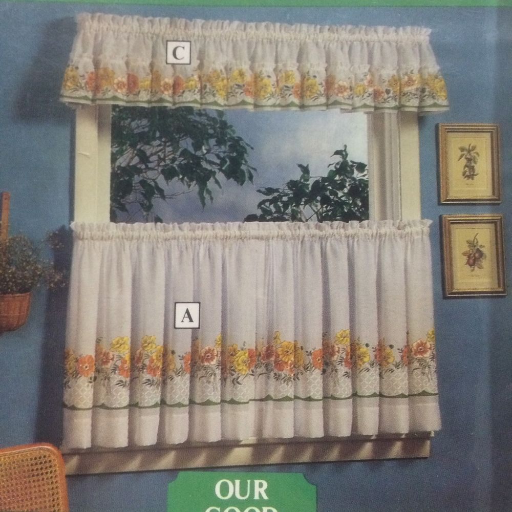 Kitchen Curtains Set Sears Chefmates Spring Flowers Lemon Yellow Tiers Valance Curtain Sets