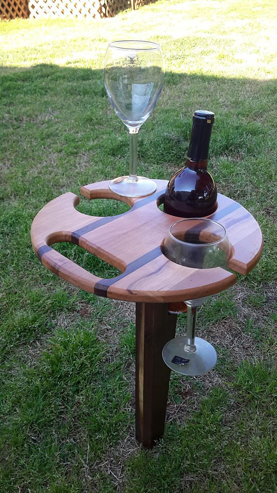 Wood No Pun Intended Lol You Or Do You Know Anyone Who Would Use This Folding Wine Table For Picnics Wine Table Wine Picnic Table Easy Woodworking Projects