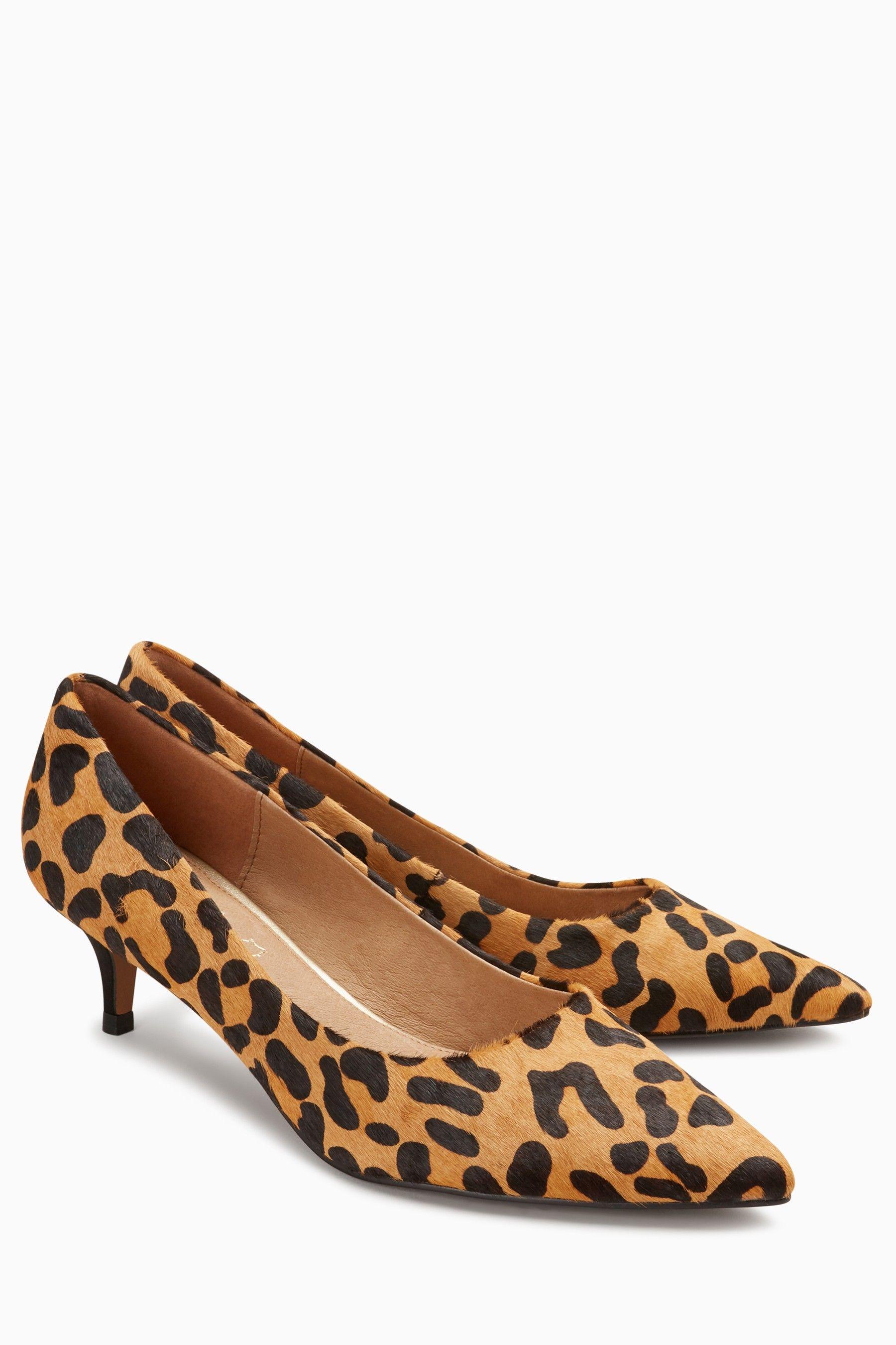 Womens Next Leopard Kitten Heel Courts Animal Kitten Heels Black Kitten Heels Leopard Print Shoes