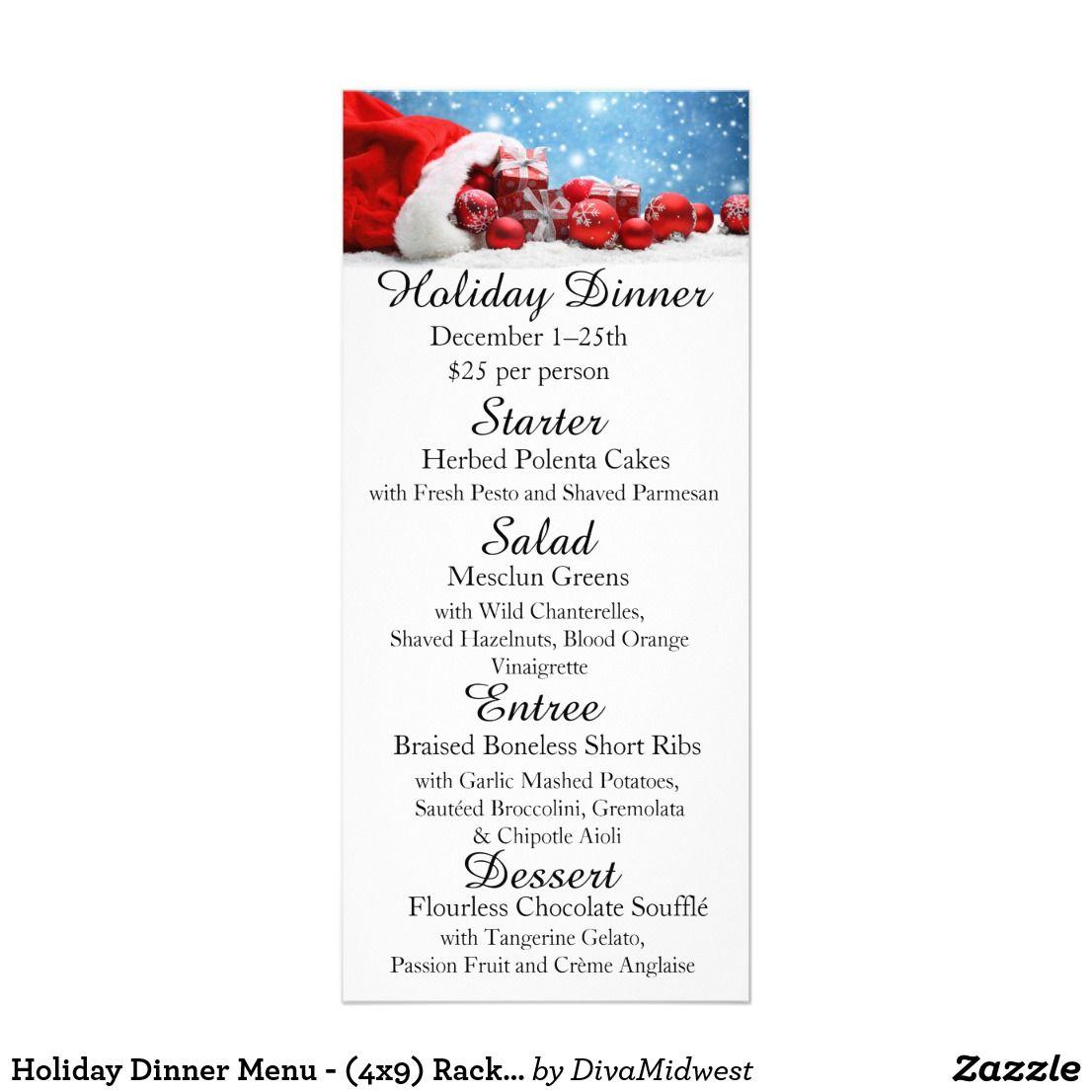 holiday dinner menu 4x9 rack card