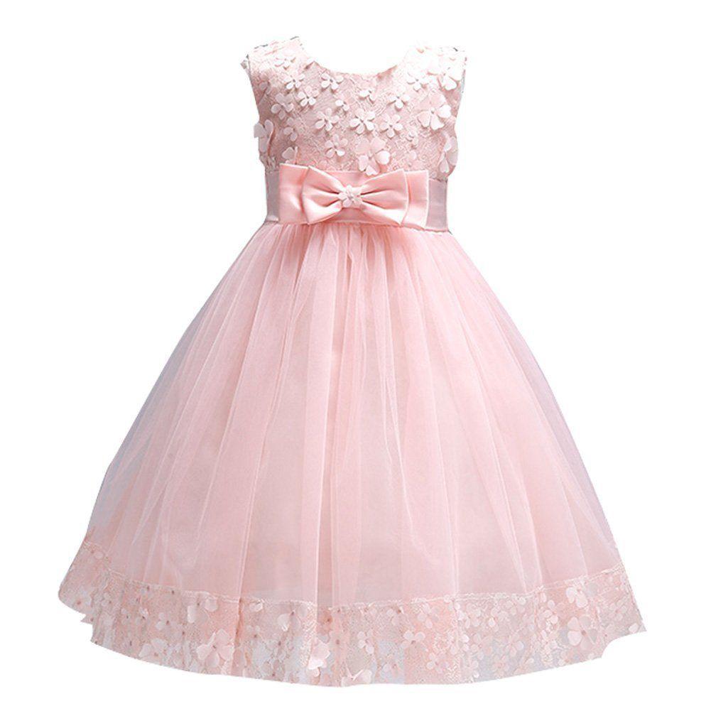 Tueenhuge girls formal dresses satin tulle wedding bowknot flower