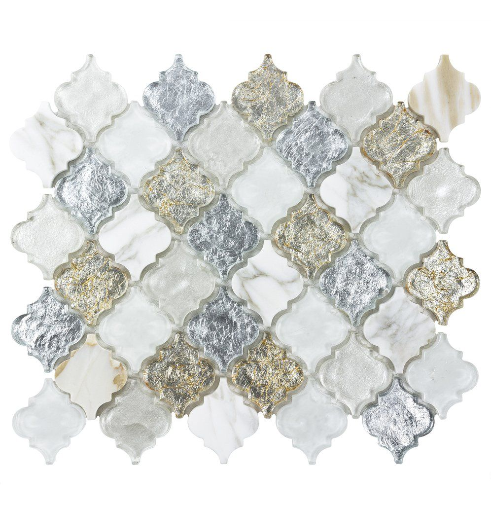 - MTO0488 Classic 2X2 Arabesque White Silver Gold Metallic Glossy