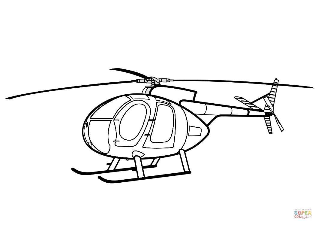 ausmalbild hughes 500 helicopter  ausmalbilder kostenlos
