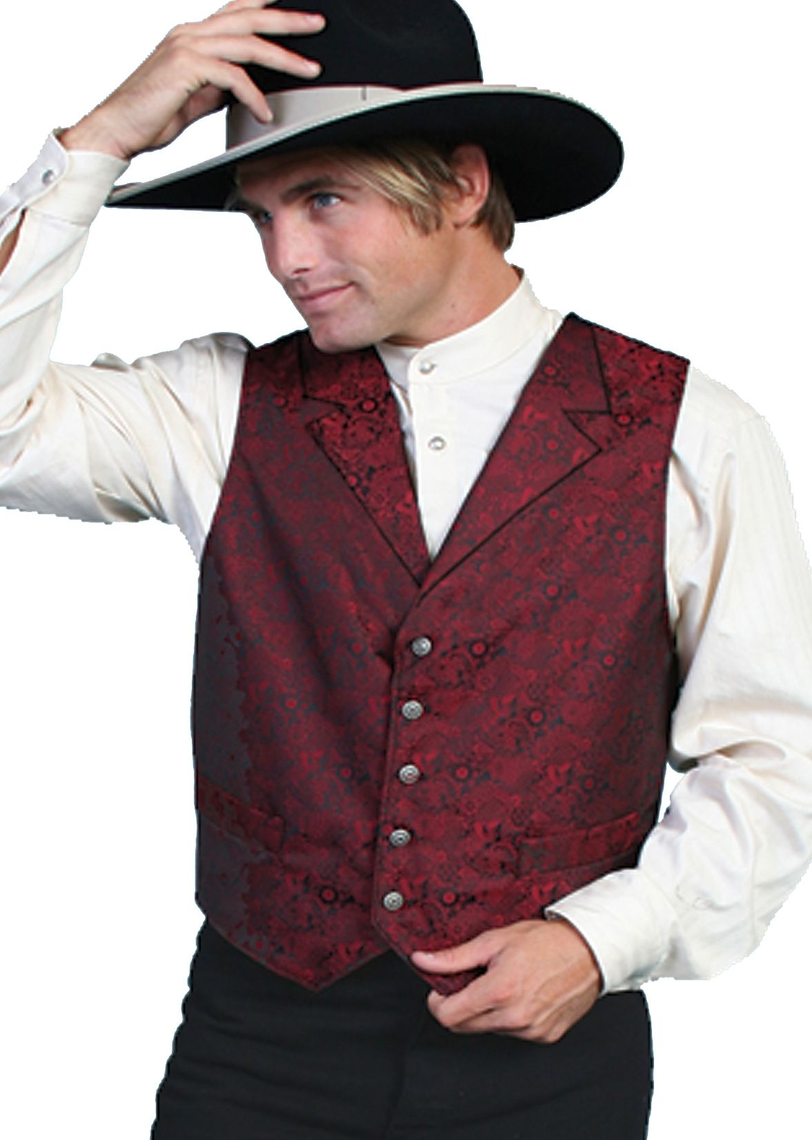 Scully Mens Clic Old Time Red Lapel Paisley Vest Western For Men