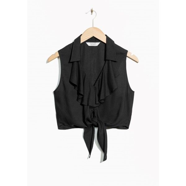 Ruffle Tie Crop Top ($90) ❤ liked on Polyvore featuring tops, frilly tops, flutter crop top, tie crop top, flutter-sleeve top and ruffle top